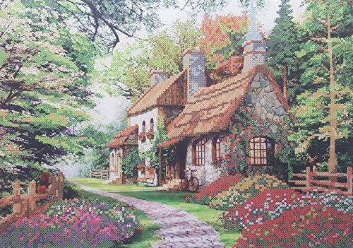 Bead Embroidery kit Cosy House Needlework Beaded Cross Stitch Cottage -