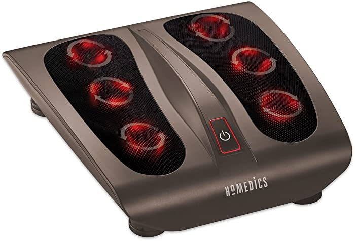 HoMedics, Triple Action Shiatsu Foot Massager with Heat, Deep-Kneading Rotating Heads & Soothing Heat, Large Design, Breathable Fabric & Toe Controls