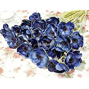 5Pcs Artifical Real Touch PU Anemone Flower Bouquet Room Home Decor (Blue) 2