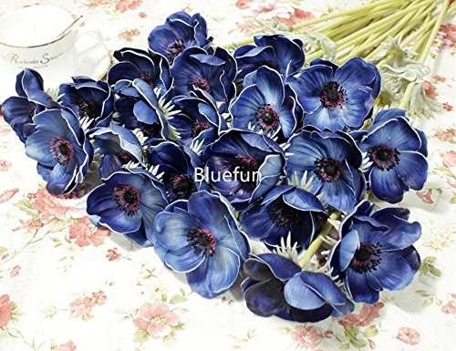 5Pcs-Artifical-Real-Touch-PU-Anemone-Flower-Bouquet-Room-Home-Decor-Blue