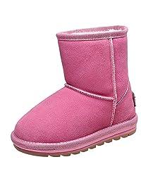 rismart Girls Fancy Mid-Calf Suede Snow Boots Kids Skidproof Warm Fur Lined Winter Boots