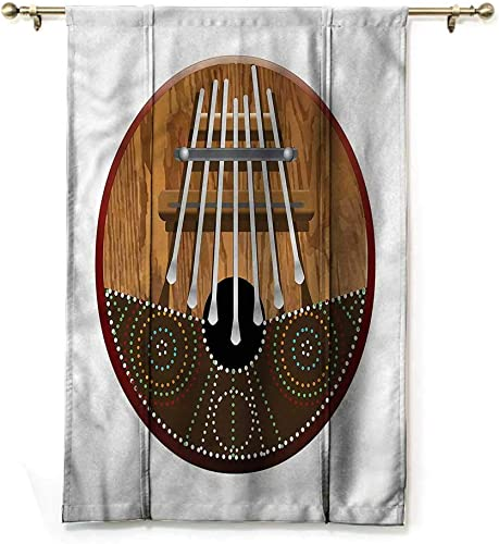Drapes for Bedroom Kalimba Balloon Shades Window Treatment Valance Historical Nigerian African 48 Wide by 72 Long