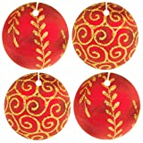 Set of Four Christmas Ornament Air Fresheners, Red, Blueberry