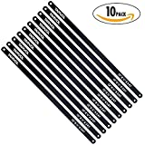 """Hacksaw Replacement Blades (10 Pack) High Speed 24 TPI - 12"""" Length Hack Saw Blade - Carbon Strength Steel - Industrial Premium Grade"""