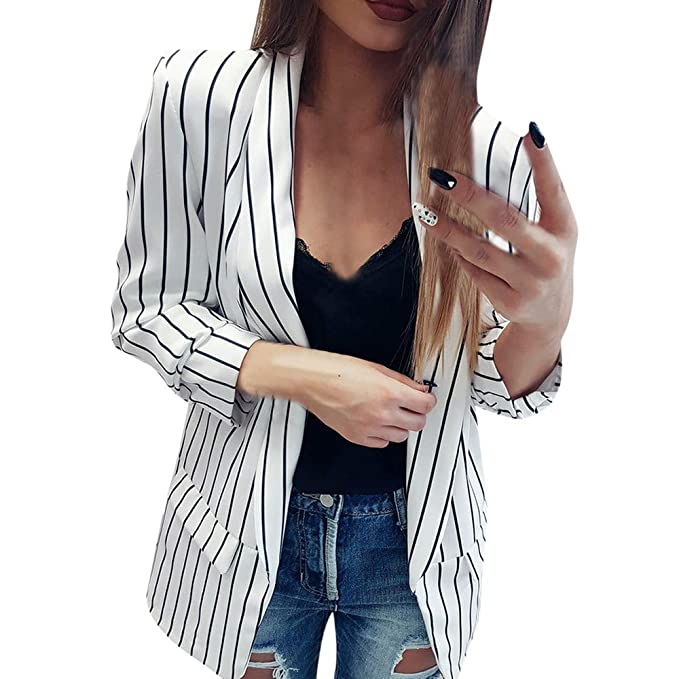 GOVOW Duster Jacket for Women Ladies Long Sleeve Striped ...