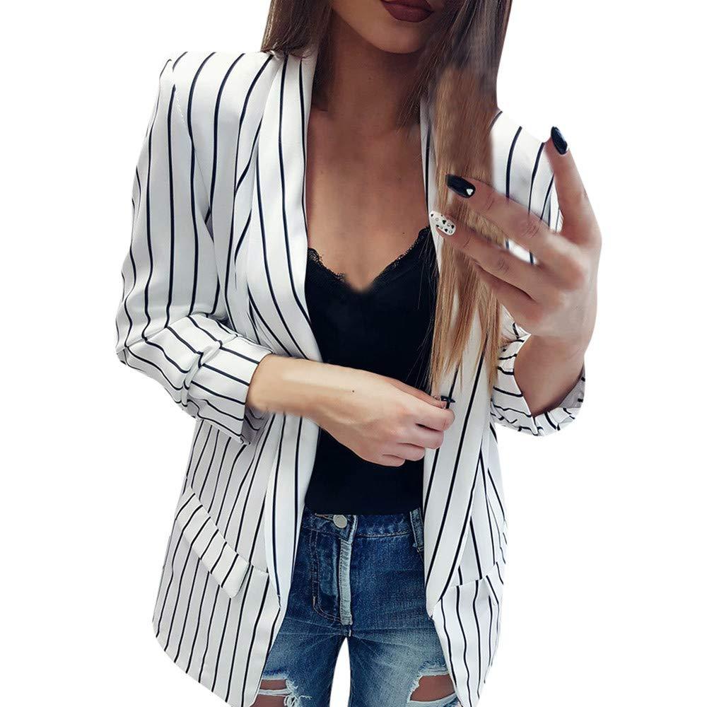 iYBUIA Office Ladies Fall Women Long Sleeve Striped Stylish Duster Blazer Jacket Coat(White,XL)