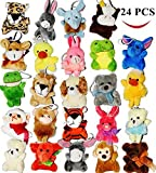 JOYIN Toy 24 Pack of Mini Animal Plush Toy Assortment (24 units 3' each) Party Bag Fillers for Kids