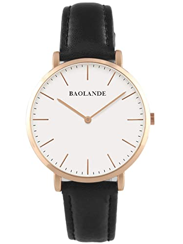 Alienwork Quarz Armbanduhr Zeitloses Design Uhr Damen Uhren Herren Ultra-flach Leder rose gold schwarz U04816M-03