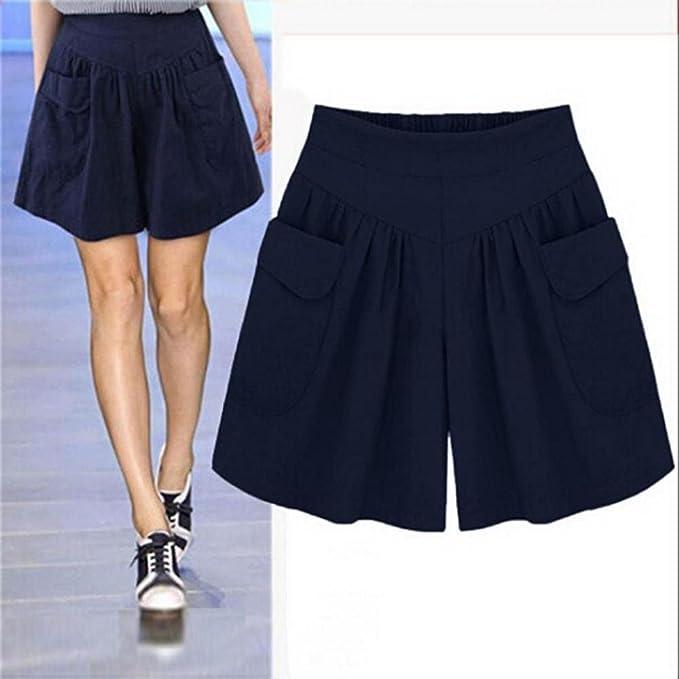 VENMO Pantalones mujer, pantalones cortos mujer, Pantalones cortos sueltos sólidos de talla grande para mujer, Pantalones cortos con bolsillos casuales ...