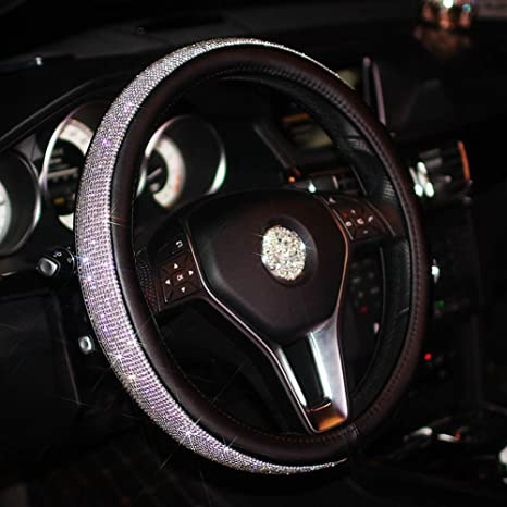 Amazon.com: Full Sparkly Rhinestone car Steering Wheel Cover Leather ...