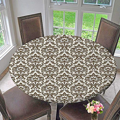 (Mikihome Chateau Easy-Care Cloth Tablecloth Floral Damask Featuring Scrolled Motifs Antique Victorian Style Print Old Country Decor Brown for Home, Party, Wedding 63
