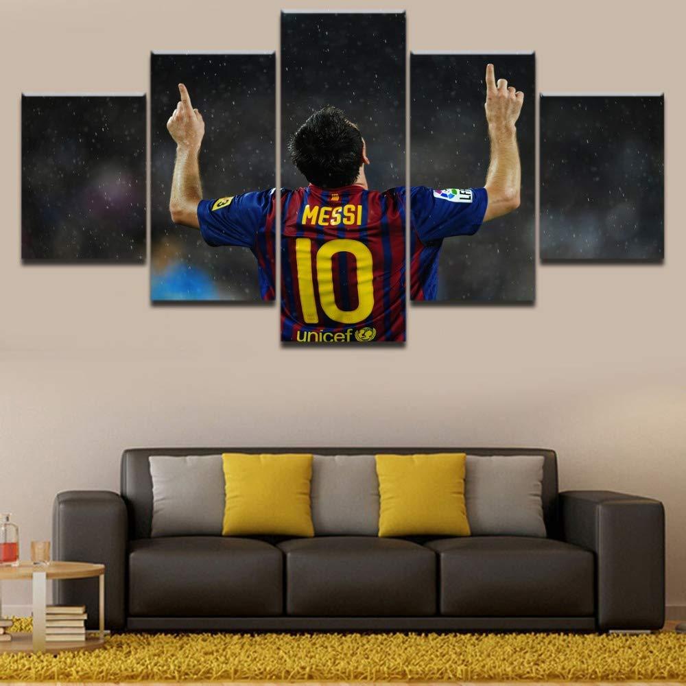 CXDM Imprimir en Lienzo Lionel Messi Deportes Imagen P/óster Moderno 5 Paneles Pintura Mural de la Pared Decoraci/ón del hogar para Sala de Estar