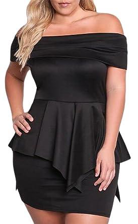 0547df59af Tingwin Women Plus Size Sexy Off Shoulder Peplum Evening Cocktail Pencil  Dresses Black L