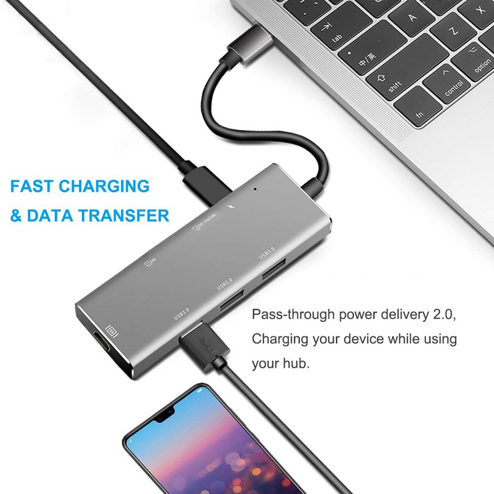 Joody USB C Hub, 7 in 1 USB Type C Hub with USB C to 4K HDMI, 3 USB 3.0 Ports, SD/TF Card Reader, USB-C 60W Power Delivery Compatible with MacBook Pro 2018 2017 and Other USB Type C Laptops (Gray)