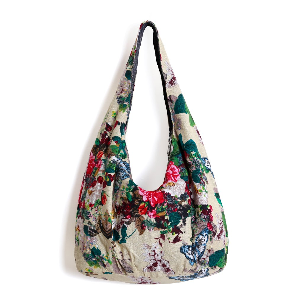 Ethnic Style Stylish Cotton Fabrics Shoulder Bag Multicolored Women Casual Everyday Bucket Handbag