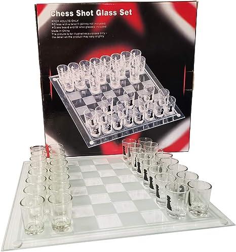 Juego de Vasos de chupito de ajedrez de GkanMore, de Cristal con Tablero de ajedrez de 13.8X 13.8