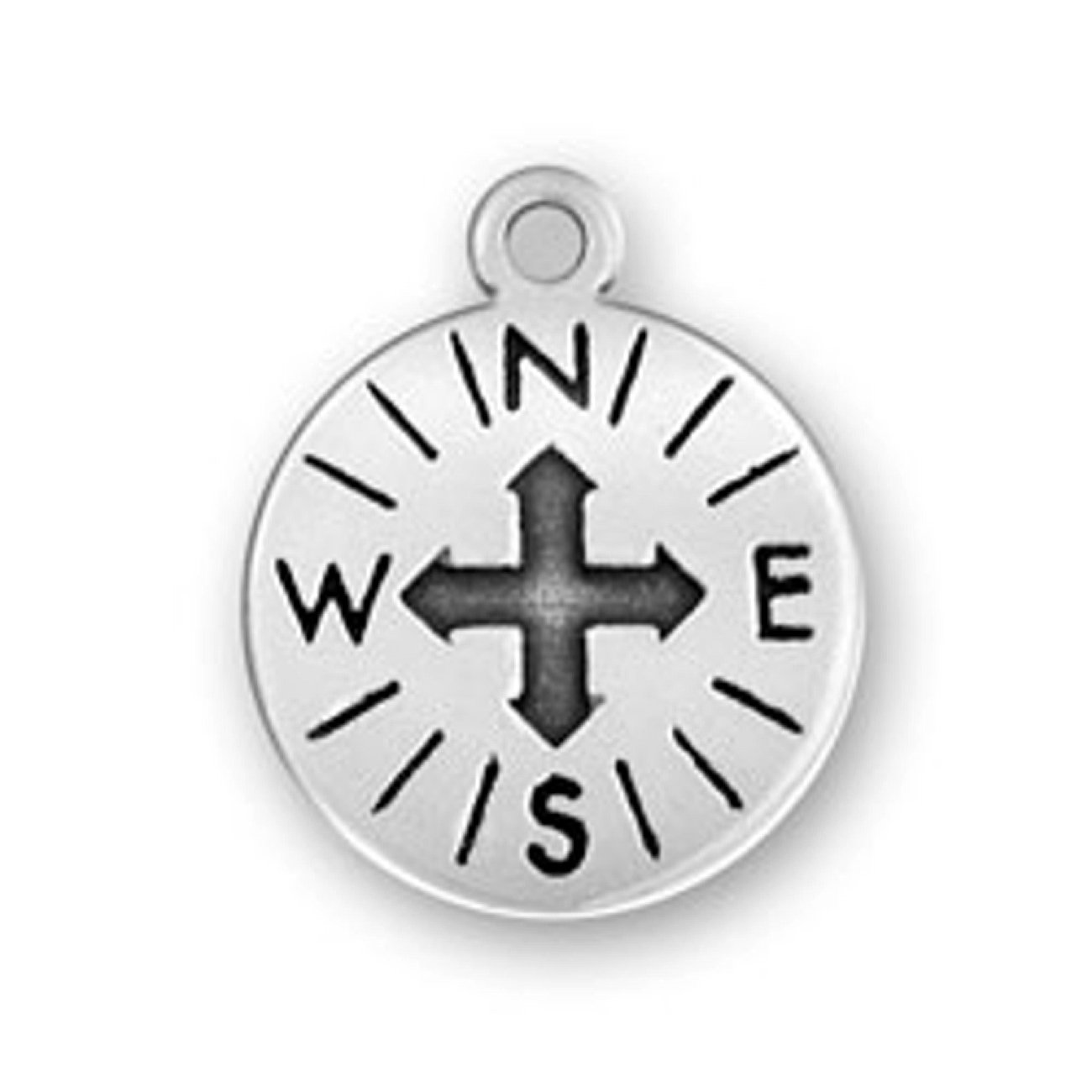 Sterling Silver Womens 1mm Box Chain Compass Pendant Necklace