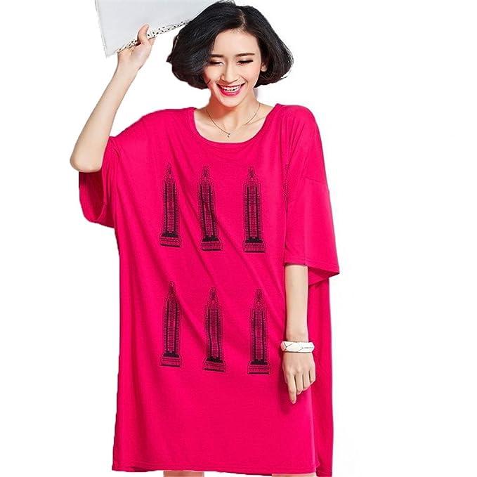 Aliyun verano Oversize vestidos Casual algodón Imprimir Loose Camiseta para embarazadas rojo rosso