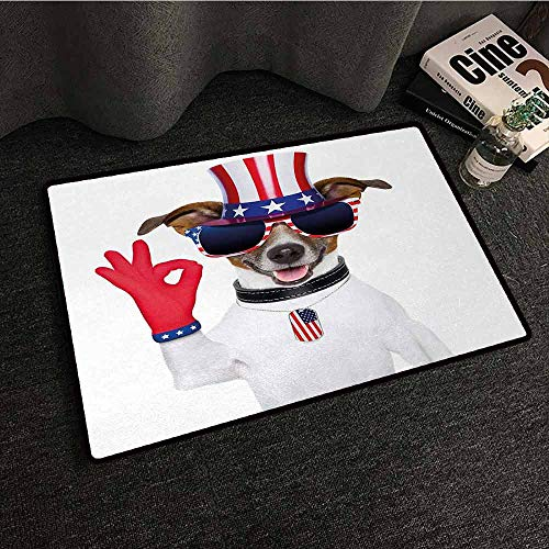DILITECK Washable Doormat 4th of July Jack Russell with an Uncle Sam Hat Gloves and Giant Sunglasses Celebrating Easy to Clean Carpet W31 xL47 Multicolor