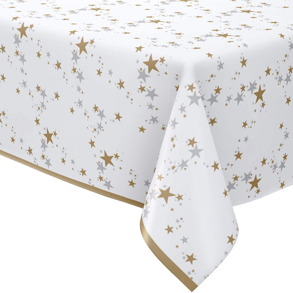HOMIX 4 Pack White Paper Rectangular Tablecloth for Parties, Disposable Gold and Silver Star Table Covers for Birthdays Wedding Baby Shower Christmas 54