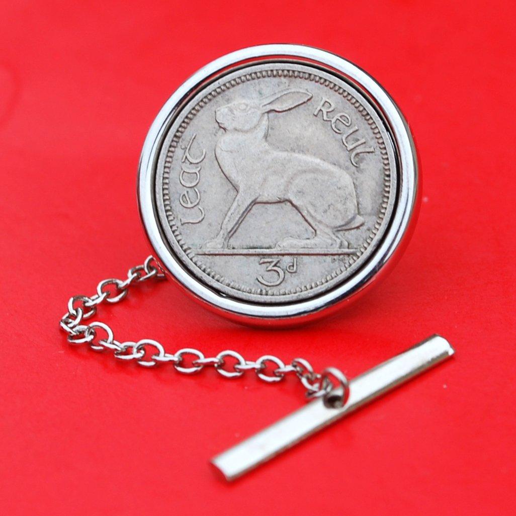 1928 ~ 1968 Irish Ireland 3 Pence Coin Silver Plated Tie Tac Tack Pin NEW - Lucky Rabbit Hare 61ksKmMwykL