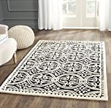 Safavieh Cambridge Collection CAM123E Handcrafted Moroccan Geometric Black and Ivory Premium Wool Area Rug (3' x 5')