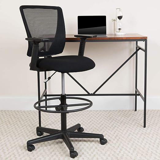Amazon Com Flash Furniture Ergonomic Mid Back Mesh Drafting Chair With Black Fabric Seat Adjustable Foot Ring And Adjustable Arms Furniture Decor