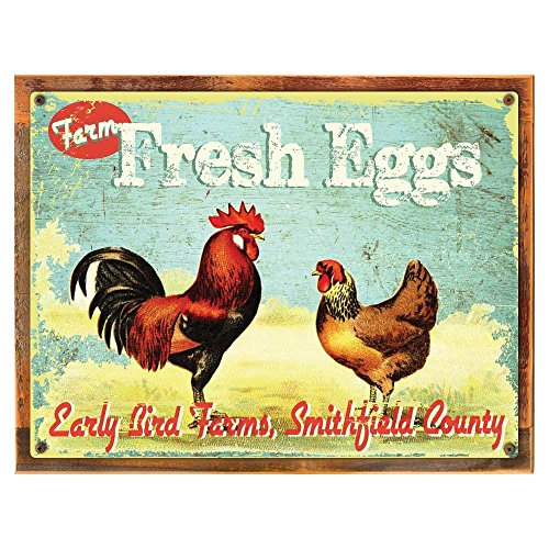 Early Bird Farms Fresh Eggs Metal Sign Framed on Rustic Wood, Rustic Country Kitchen, Barn, Den Deco For Sale