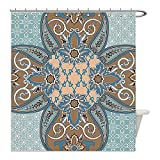 Liguo88 Custom Waterproof Bathroom Shower Curtain Polyester Arabian Decor Collection Arabian Style Geometric Pattern Islamic Persian Art Elements and Baroque Touch Art Print Brown Teal Decorative bat
