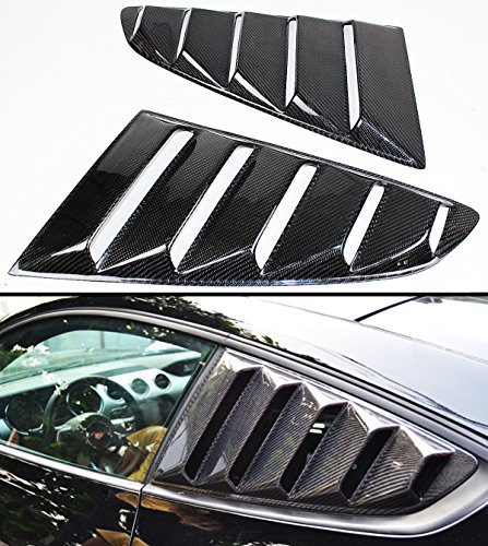 Cuztom Tuning Fits for 2015-2017 Ford Mustang GT S550 Carbon Fiber Side Vent Window Quarter Scoop Louver Covers Pair