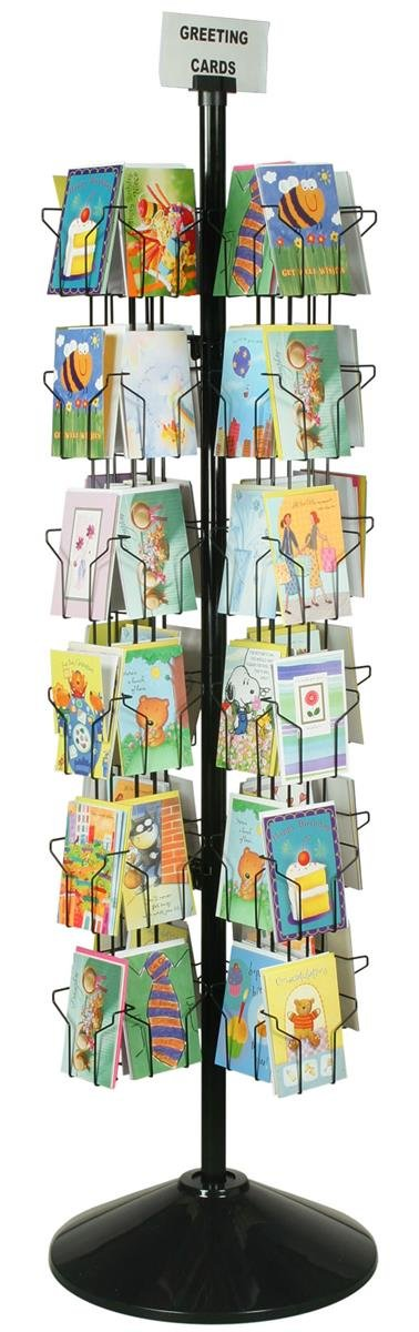 Spinning Greeting Card Floor Rack with (72) 5x7 Pockets, 70'' Tall Rotating Wire Stand - Black Wire Construction with Plastic Base and Sign Holder