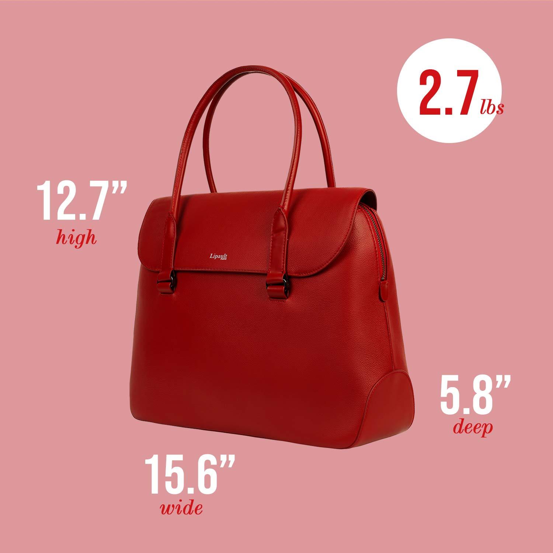 Lipault - Plume Elegance Tote Bag - 15.6'' Laptop Top Handle Shoulder Handbag for Women - Ruby by Lipault (Image #2)