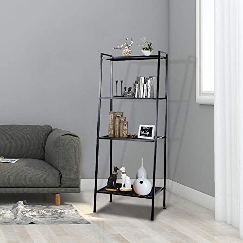 Yescom 4 Tier Metal Ladder Shelf Bookcase Leaning Storage Rack Corner Display Bookshelf Plant Flower Stand Black