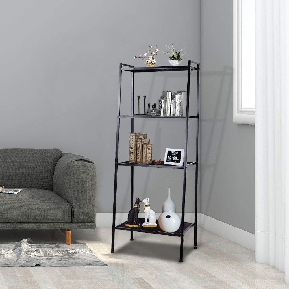 Yescom 4 Tier Metal Ladder Shelf Bookcase Leaning Storage Rack Corner Display Bookshelf Plant Flower Stand Black by Yescom