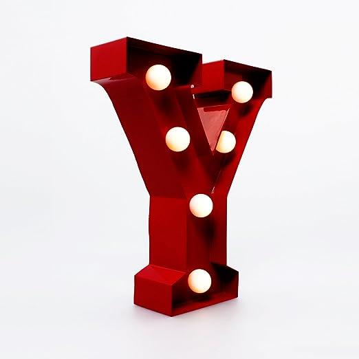 Giggle Beaver Marquee Letter Light Y - Letras del Alfabeto con Luces LED - Letras de la Bombilla - Cartel Decorativo Vintage - Metal Rojo de 9 ...