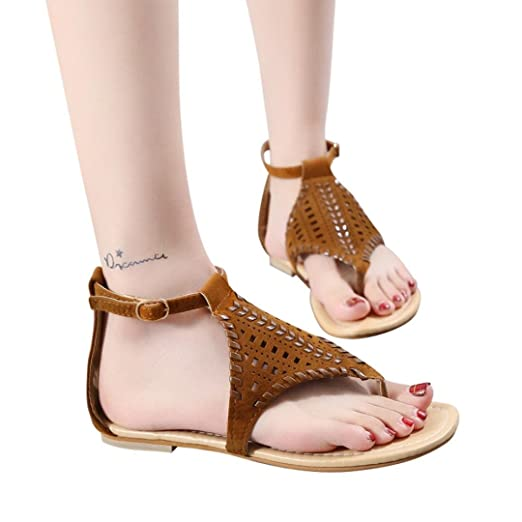 aa2d5b3ab5f9 lognra Frauen Vintage atmungsaktiv Hohl Schnalle gewebt Sandale Flach