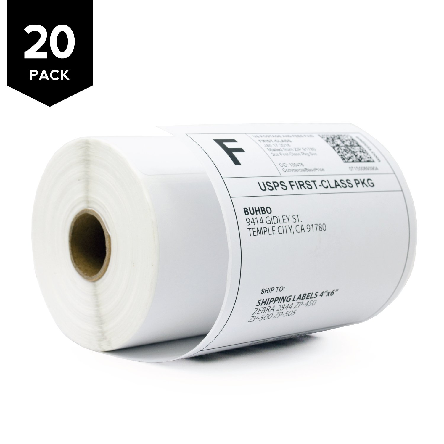Buhbo [20 Pack] 4''x 6'' Direct Thermal Shipping Labels for Zebra 2844 ZP-450 ZP-500 ZP-505 (250 Labels Per Roll)