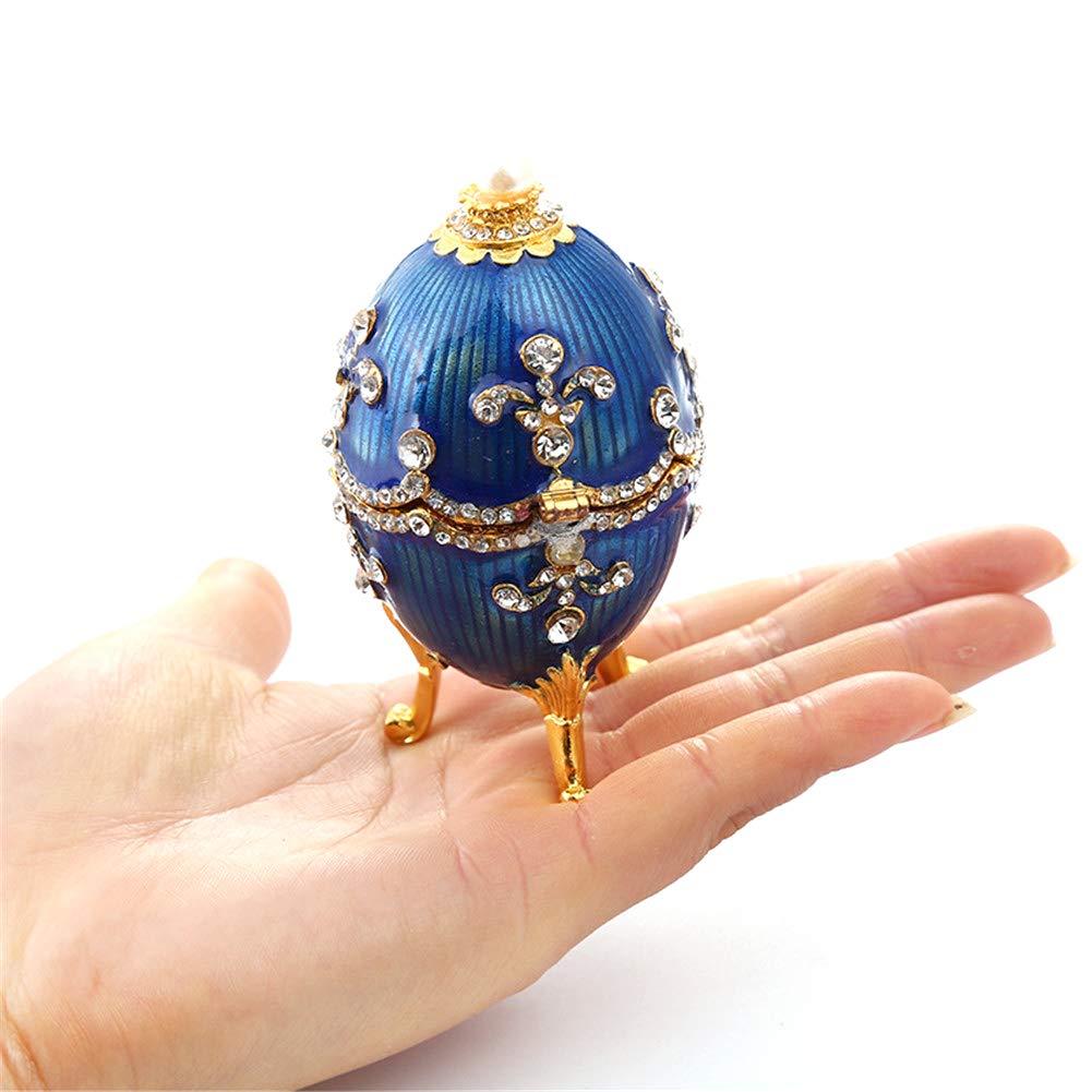 Scatola di Gingillo Faberge Trinket Box Anello in Cristallo Bejeweled da Collezione
