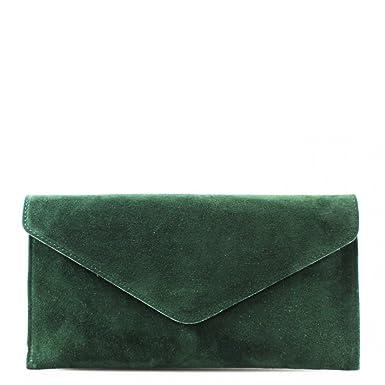 9734db4919 Genuine Italian Suede Leather Envelope Clutch Bags Party Wedding Purse  Handbag Cross Body Bag CW01 (Army Green)  Amazon.co.uk  Clothing