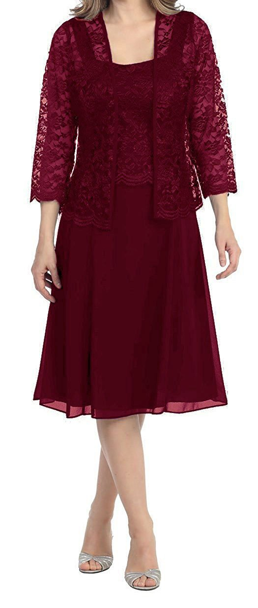 Burgundy Womens Short Mother of the Bride Plus Size Formal Lace Dress with Jacket Dark Purple US28