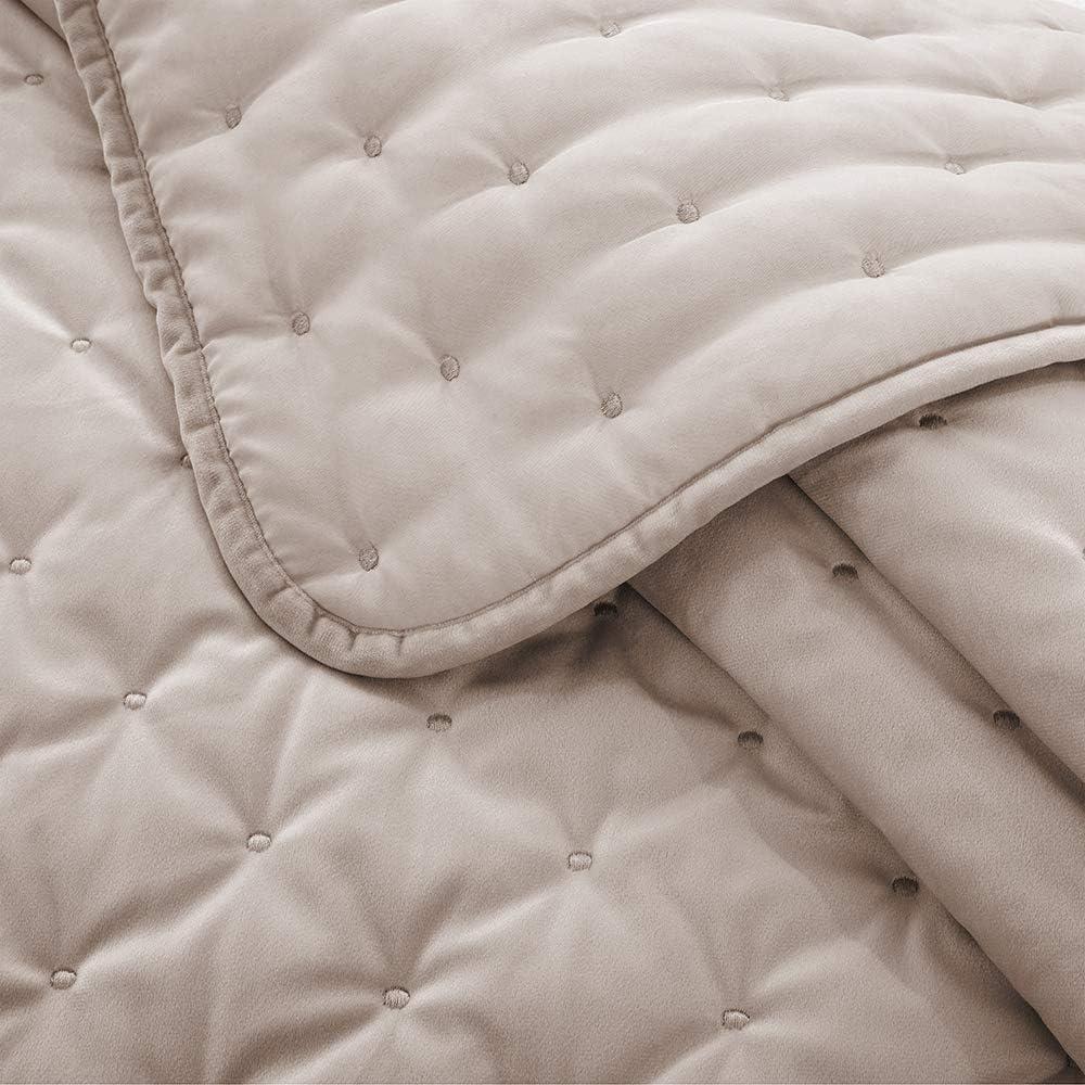 Oxford Homeware/® Bett/überwurf Tagesdecke Bettdecke Wendedesign 3 St/ück Steppdecke gesteppt 2 Kissenbez/üge Beige, 240x240 cm