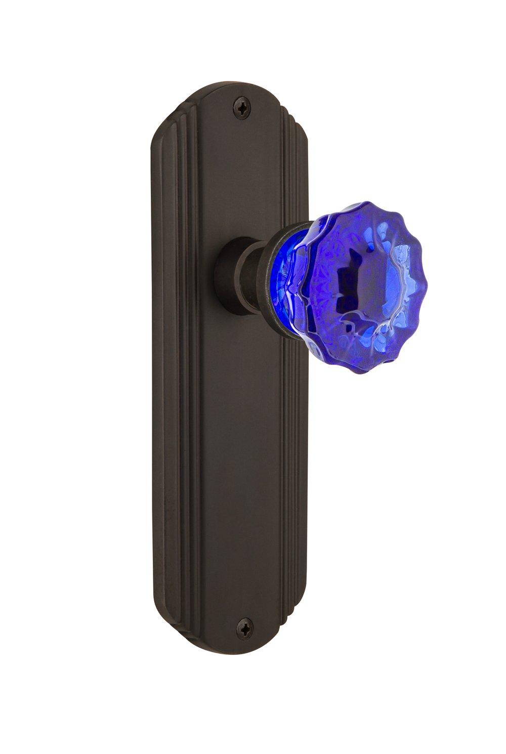 Nostalgic Warehouse 720465 Deco Plate Passage Crystal Cobalt Glass Door Knob in Unlaquered Brass 2.75