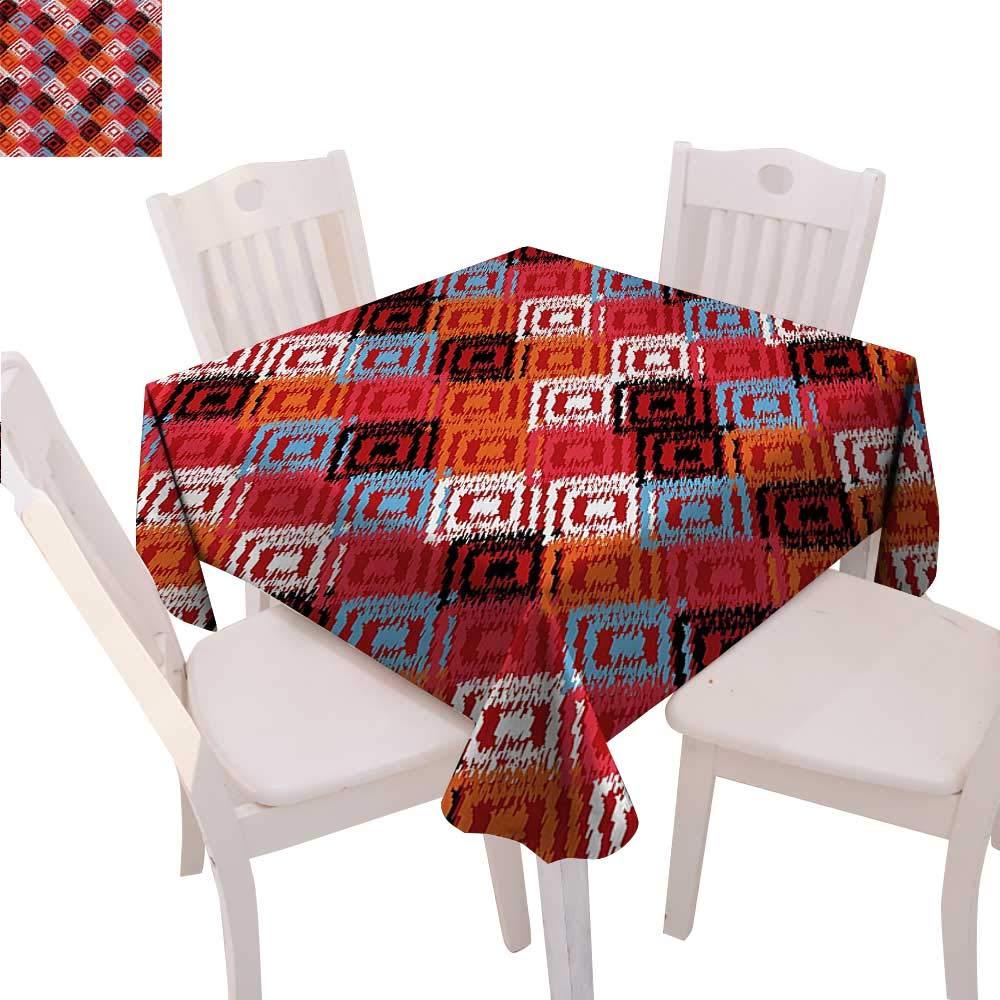 Ikat ディナー ピクニックテーブルクロス ディストレストグランジイカットパターン ディスパーフェクト接続 東洋デザイン 防水 キッチン用テーブルカバー 36インチx36インチ レッド ブルー オレンジ 50