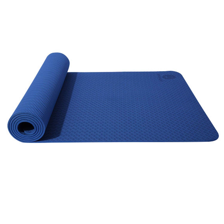 ノンスリップヨガマットTPEワイドパッドフィットネスマットピラティスダンス裸足エクササイズ有酸素ストレッチ腹部ジムキャンプマルチカラーオプション (色 : 緑) B07QX62VNT 青 青