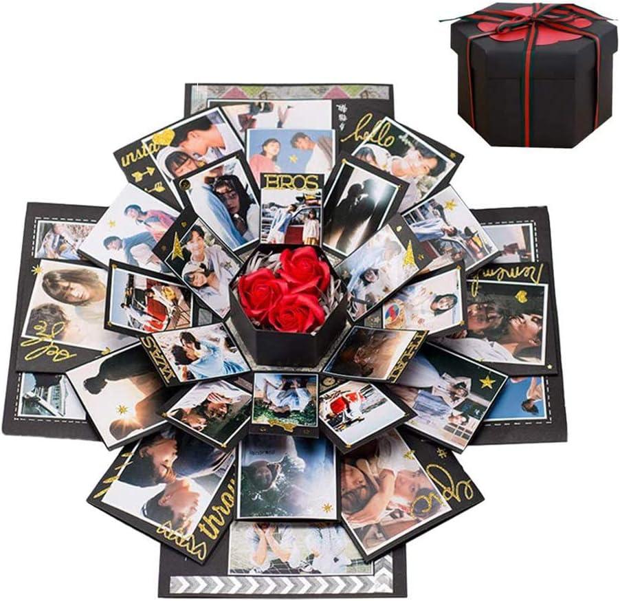 Cosswe Caja de explosión, caja de sorpresa, álbum de fotos, álbum de recortes, caja de regalo plegable, hecho a mano, álbum conmemorativo para cumpleaños, día de San Valentín, boda, recuerdo del amor