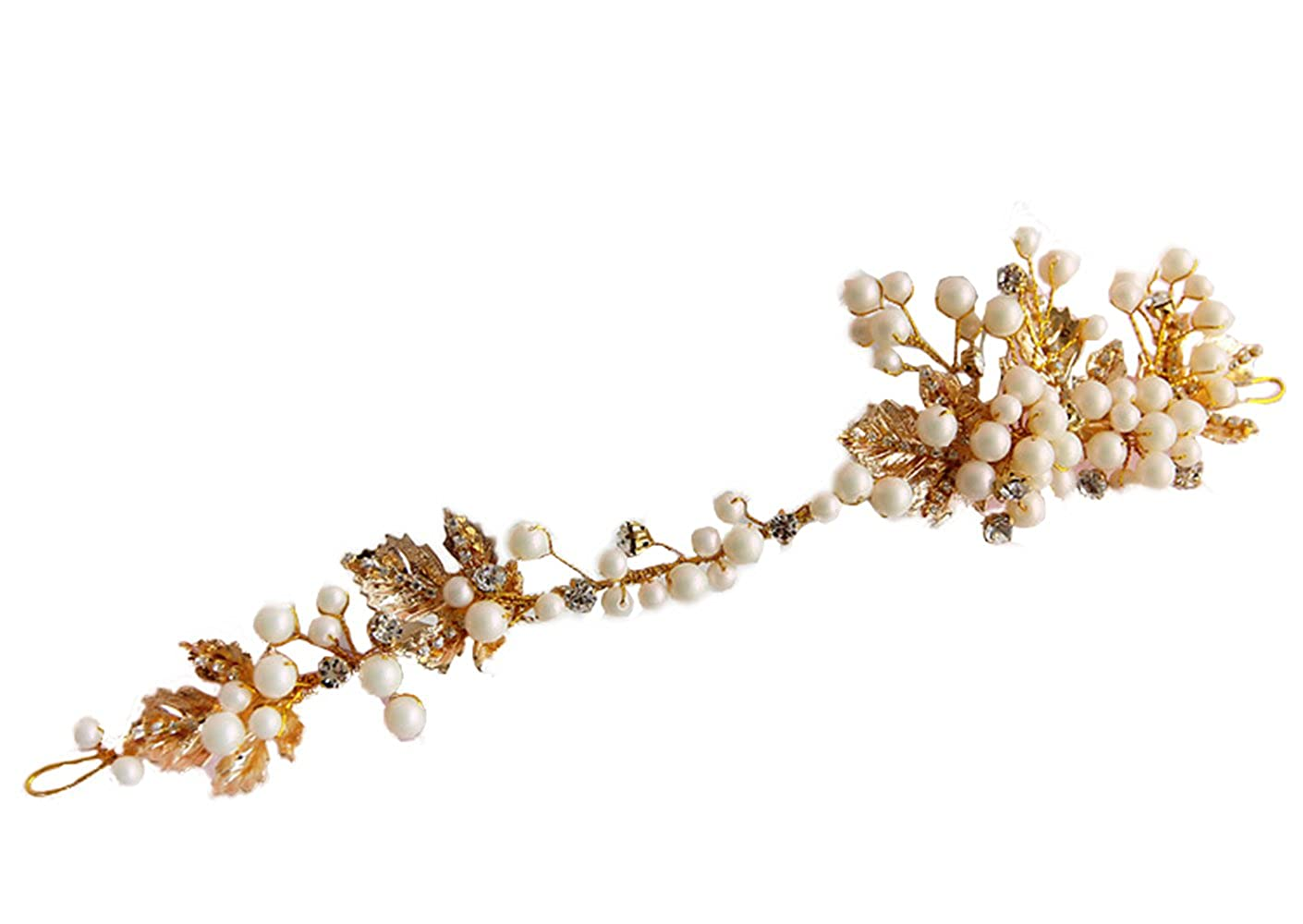 Gold color leaf headband pearl jewelry crystal tiara women crown hair ornaments bridal wedding accessories Gift 90