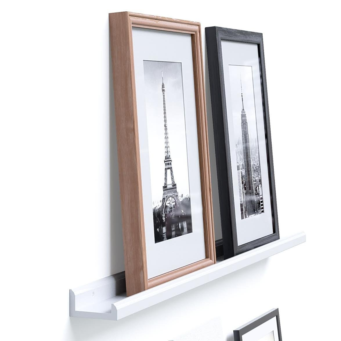 Wallniture Boston Contemporary Floating Wall Shelf - Picture Ledge for Frames Book Display White 46 Inch