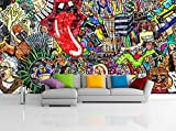Removable Wallpaper Mural Peel & Stick Music Collage on a Large Brick Wall Graffiti (83H X 124W)