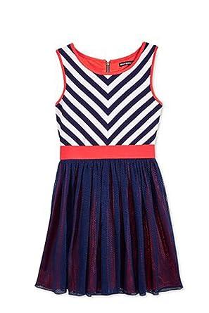 684bdc8ee07c8 Amazon.com: Sequin Hearts Girls' Mitered-Stripes Dress (Size 14 ...