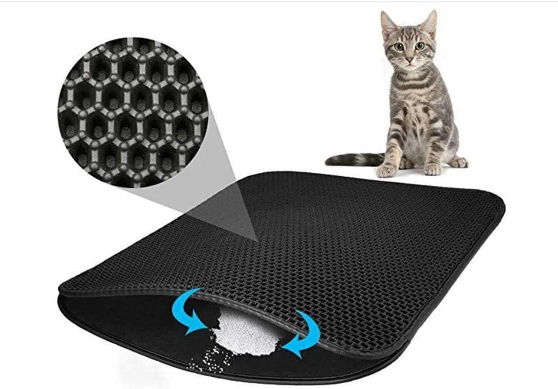 YAOJU Alfombra Gatos Arenero,Diseño de Panal de Doble Capa, Antideslizante, Impermeable, Fácil de limpiar, Cubierta de Arena para Gatos(70*55): Amazon.es: Productos para mascotas